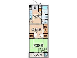 京都府京都市山科区安朱馬場ノ東町の賃貸マンションの間取り