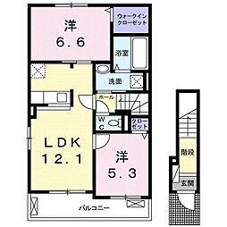 四日市アパート 2階2LDKの間取り