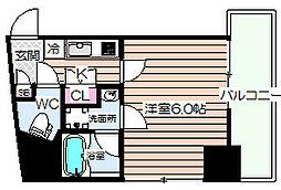 Luce Shinfukushima(ルーチェシンフクシマ) 6階1Kの間取り