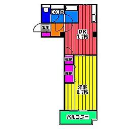 福岡県福岡市南区高木3丁目の賃貸マンションの間取り