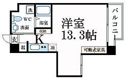 エスキュート魚崎 6階ワンルームの間取り