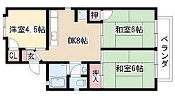 愛知県名古屋市天白区原5の賃貸アパートの間取り