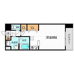 Osaka Metro長堀鶴見緑地線 蒲生四丁目駅 徒歩3分の賃貸マンション 6階ワンルームの間取り