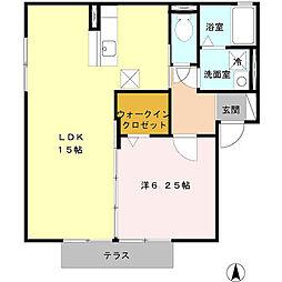 愛知県北名古屋市鹿田大門の賃貸アパートの間取り
