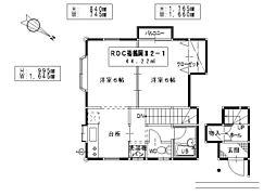 ROC裕鶴岡II 2階2Kの間取り