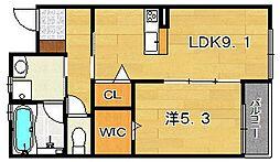 大阪府茨木市上穂東町の賃貸アパートの間取り