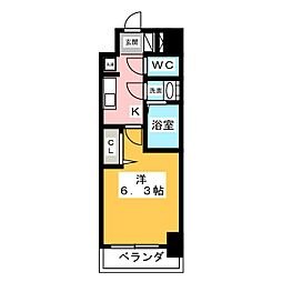 アステリ鶴舞エーナ 11階1Kの間取り