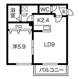 札幌市電2系統 静修学園前駅 徒歩2分の賃貸マンション 2階1LDKの間取り