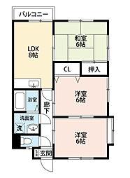 福岡県北九州市小倉北区下富野3丁目の賃貸アパートの間取り