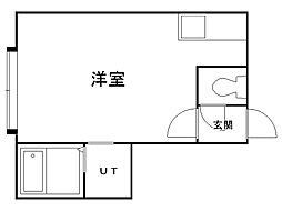 パークプレイス 2階ワンルームの間取り