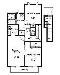 藤原の郷B[1階]の間取り