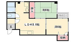 フローラハイツ六甲[305号室]の間取り