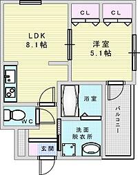 Osaka Metro今里筋線 井高野駅 徒歩4分の賃貸アパート 1階1LDKの間取り