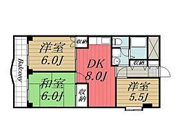 千葉県千葉市若葉区若松町の賃貸マンションの間取り