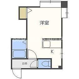 札幌市営南北線 北34条駅 徒歩7分の賃貸アパート 1階ワンルームの間取り
