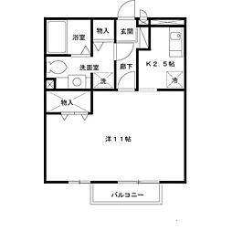 リバーハイツ A棟[2階]の間取り