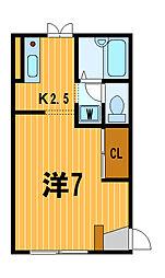 神奈川県横浜市神奈川区西神奈川3の賃貸アパートの間取り