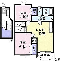 ブルースカイハイツ[2階号室]の間取り