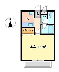 栃木県宇都宮市関堀町の賃貸マンションの間取り