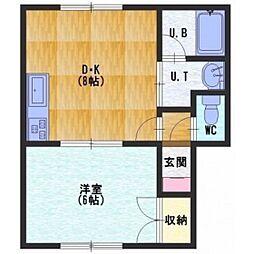 北海道函館市美原4丁目の賃貸アパートの間取り