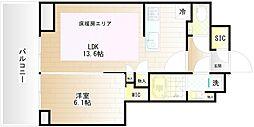 プラウドタワー武蔵小金井クロス EAST 15階1LDKの間取り