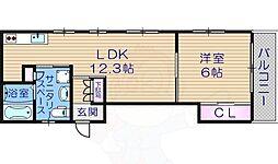 アールエスビル 1階1LDKの間取り