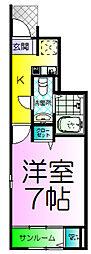 フェリオ津久野[1階]の間取り