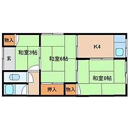 奈良県生駒市西旭ケ丘の賃貸アパートの間取り