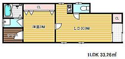 兵庫県神戸市兵庫区水木通3丁目の賃貸アパートの間取り