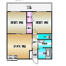 武知マンション7[1階]の間取り