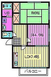 ビーライン三橋 D・E棟[2階]の間取り