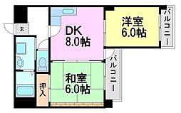 兵庫県尼崎市食満1丁目の賃貸マンションの間取り