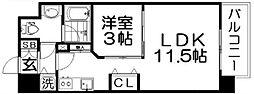 Osaka Metro四つ橋線 肥後橋駅 徒歩3分の賃貸マンション 6階1LDKの間取り