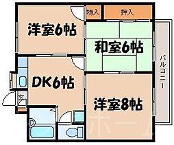 広島県広島市安芸区中野6丁目の賃貸マンションの間取り