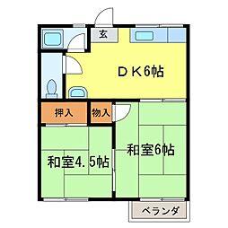 奥山ハイツA棟[202号室]の間取り