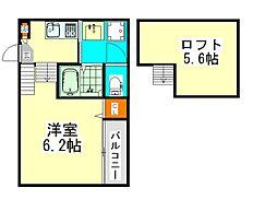 近鉄名古屋線 烏森駅 徒歩6分の賃貸アパート 1階ワンルームの間取り