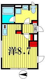 都営新宿線 菊川駅 徒歩5分の賃貸マンション 2階ワンルームの間取り