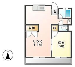 江口マンション四女子[4階]の間取り