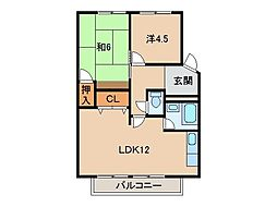 松ヶ丘コーポラス[4階]の間取り