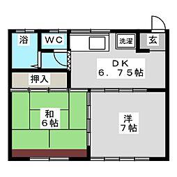 サンハイツヤマモトB[1階]の間取り