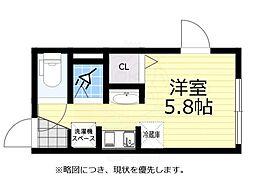 JR中央線 荻窪駅 徒歩7分の賃貸マンション 1階ワンルームの間取り