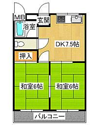 兵庫県尼崎市武庫之荘本町3丁目の賃貸マンションの間取り