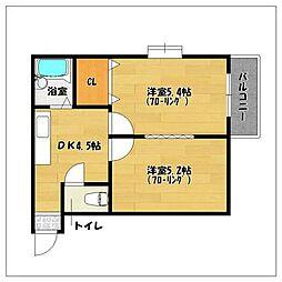 エリーナハイツ西新東2[1階]の間取り