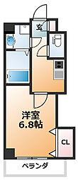 Luxe西田辺 2階1Kの間取り