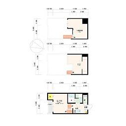福岡市地下鉄七隈線 福大前駅 徒歩10分の賃貸アパート 1階1Kの間取り