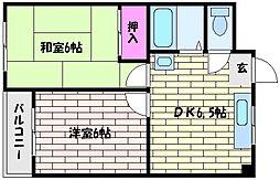 スカイハイツ深江[2階]の間取り