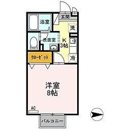 富山県富山市中島5丁目の賃貸アパートの間取り