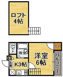 福岡県福岡市博多区美野島2の賃貸アパートの間取り