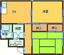 コーエイマンション第2 1階2DKの間取り