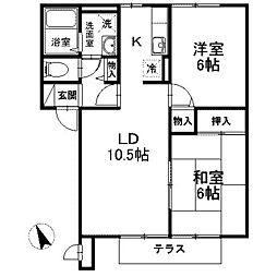 神奈川県相模原市南区西大沼5丁目の賃貸アパートの間取り